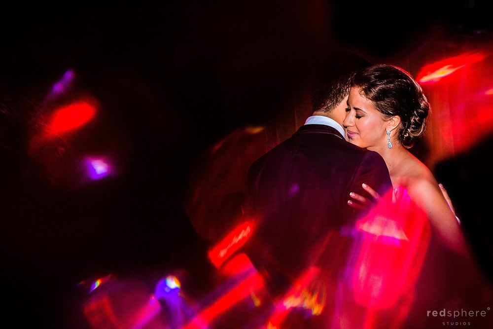 Bride and Groom Closeness, Red Party Light Flares