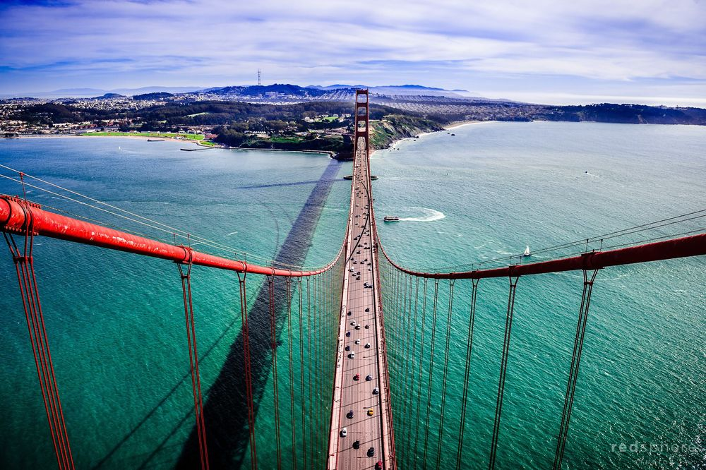 On top of the Golden Gate Bridge, San Francisco View