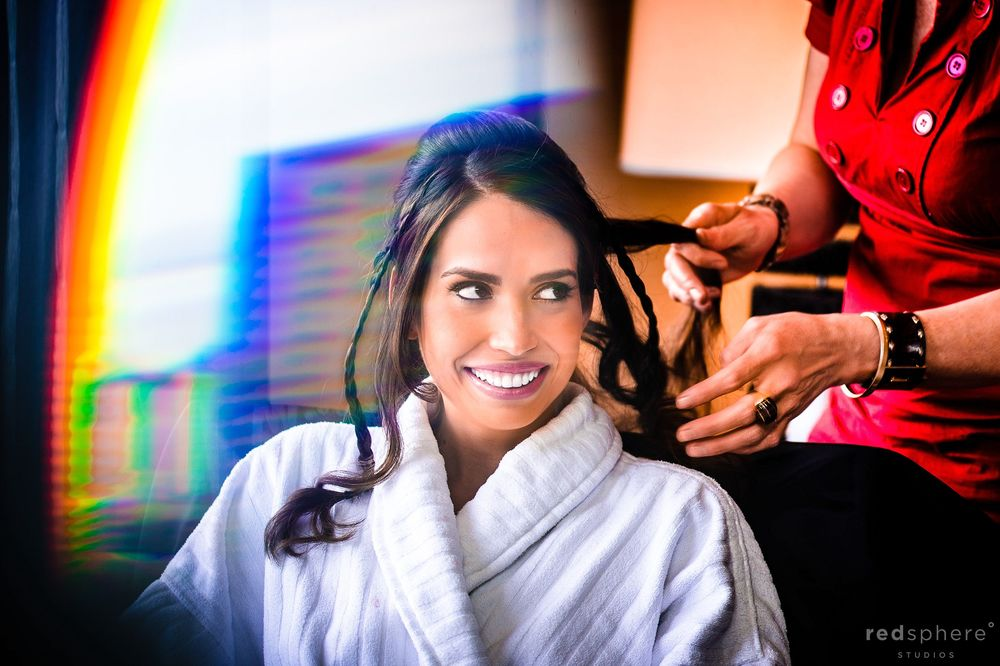 Bride Smiling at Friend While Getting Hair Done, Rainbow Flare