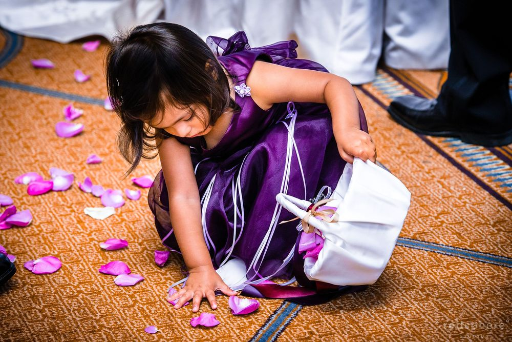 Flower Girl Placing Flowers on the Floor, San Francisco Westin St. Francis Wedding
