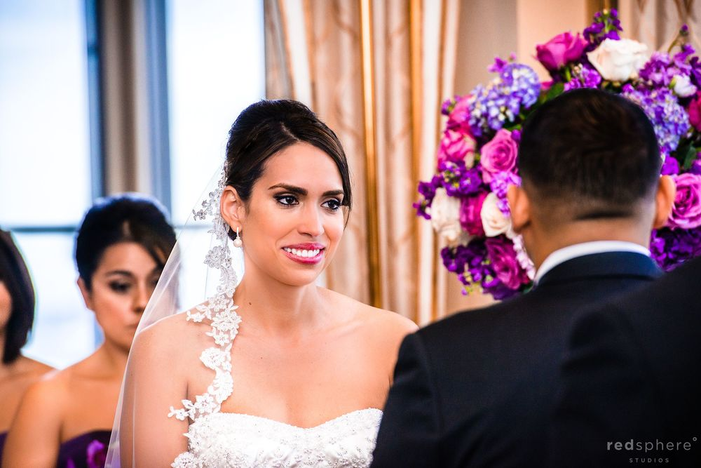 Bride With Tears Of Joy As She Faces Groom