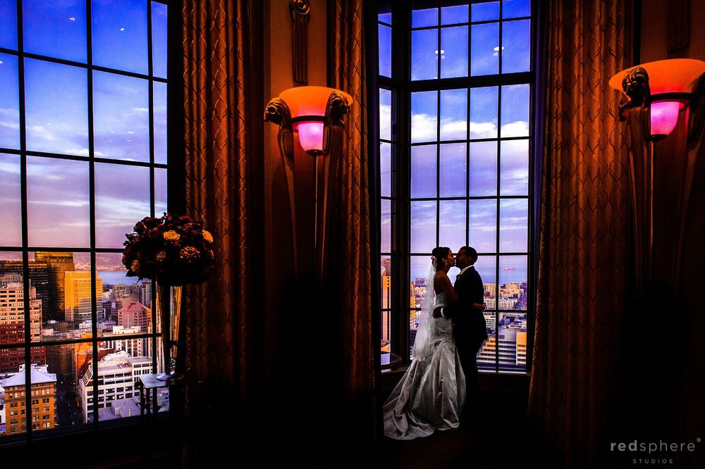 Bride and Groom Kissing Silhouette at Westin St. Francis, San Francisco Sunset