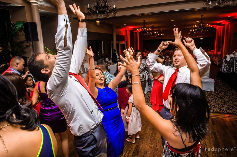 Guests All Put Their Hands Up For Final Song Danville, California Wedding Reception