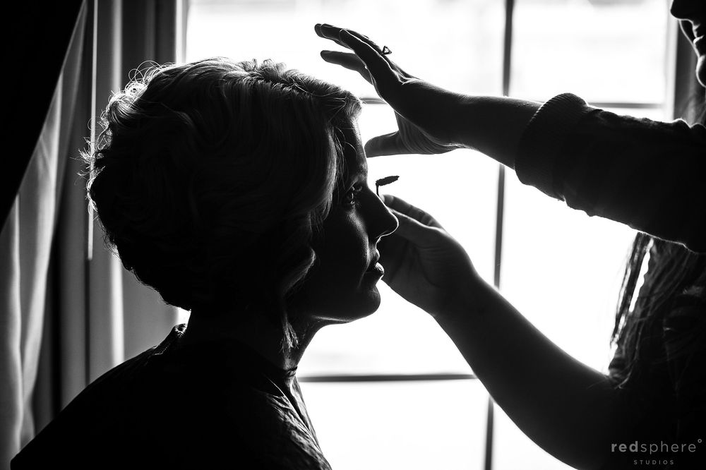 Bride Getting Prepped With Makeup, Black and White Silhouette