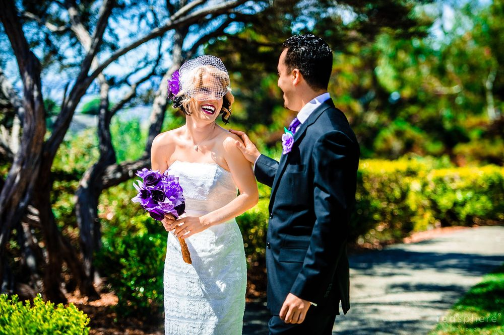 Bride and Groom Laughing at the Snow Building, Oakland Zoo, Vibrant Colors
