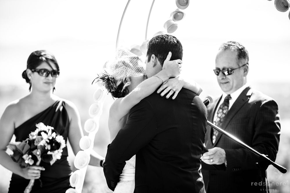 Bride and Groom Finally Kiss at Oakland Zoo Wedding, Black and White Photography