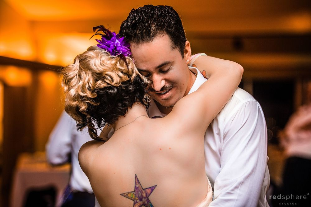 Bride and Groom Slow Dance, Star Tattoo on Brides Back