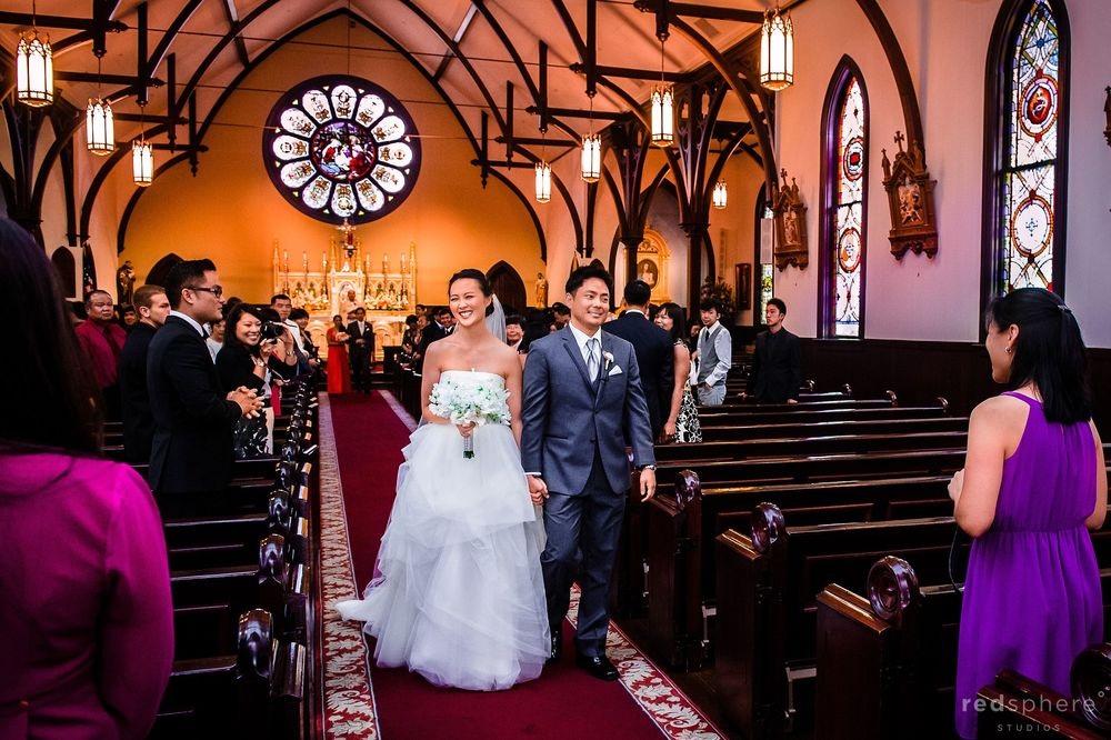 Newly Wed Couple Exiting Church of the Nativity, Menlow Park, CA Wedding Doors