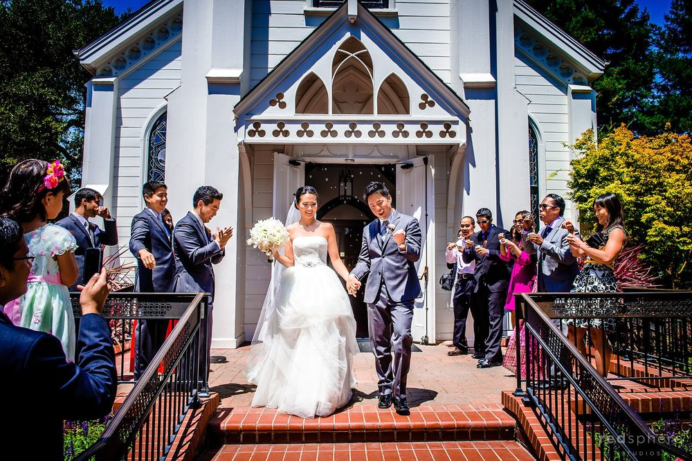 Bride and Groom Locked Hands Outside of Church of the Nativity, Menlo Park California