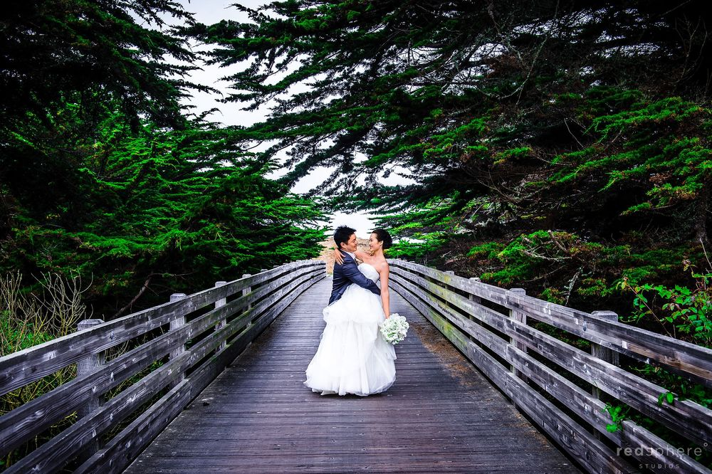 Bride and Groom On Walking Bridge, Half Moon Bay