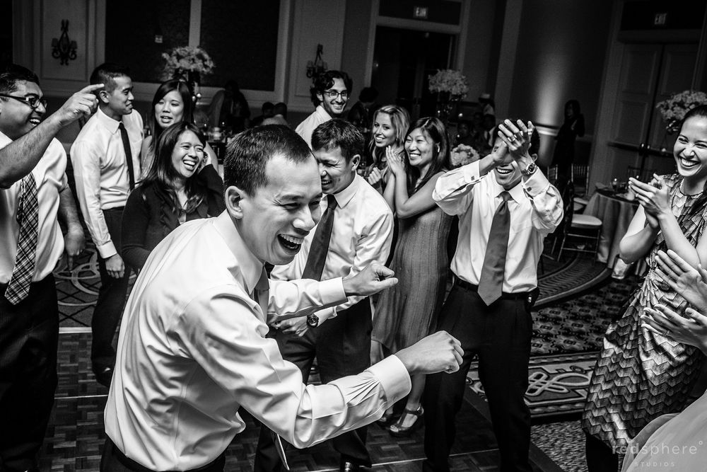 Guests Dancing and Clapping at The Ritz Carlton, Half Moon Bay, CA, Black and White Dancing Candids