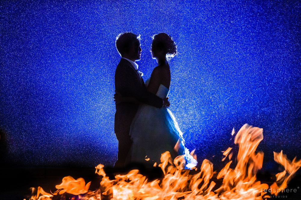 Newly Wed Couple Silhouette With Burning Fire, Ritz Carlton Half Moon Bay