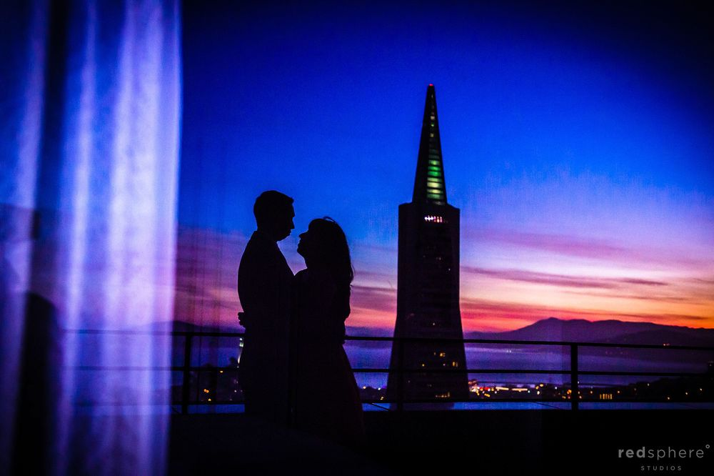 Window Reflection of Couple Silhouette in Mandarin Oriental Hotel San Francisco