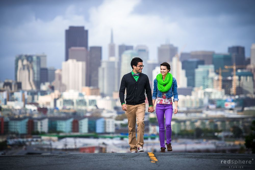 Vibrantly Clothed Couple on top of Potrero Hill, San Francisco Engagement