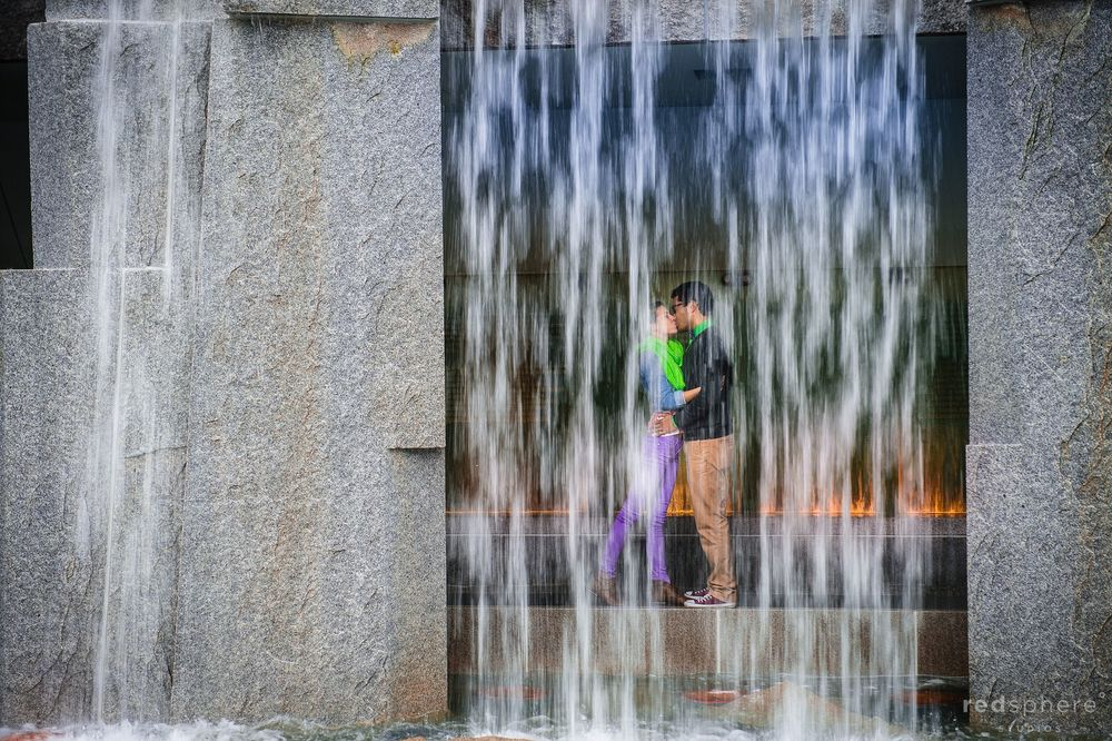 Couple Share a Magical Kiss Behind Waterfall, San Francisco Engagements