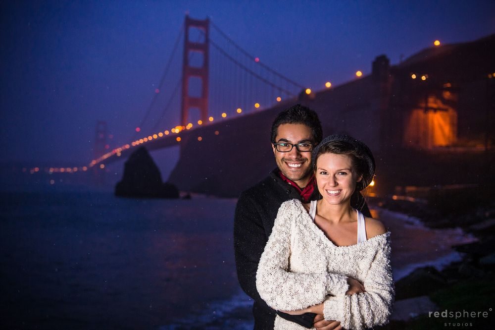 Posed Engagement Photo, Golden Gate Bridge From Baker Beach