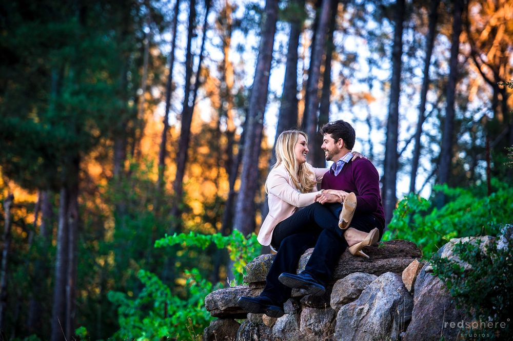 Couple Sit on Top of a Rock, Golden Hour Hits Sonoma County Tree, Engagement