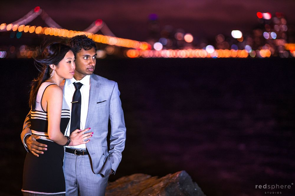 Couple Engagement at Treasure Island Shore, San Francisco Night Lights