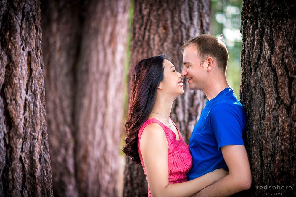 Couple Nose Kisses Behind Redwoods, South Lake Tahoe Engagement