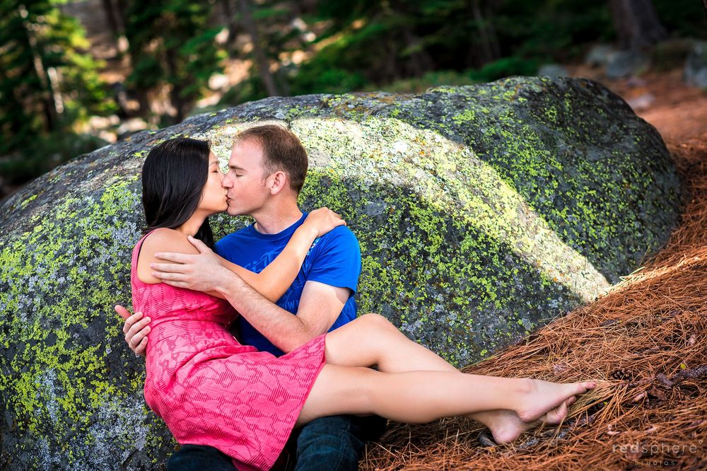 Couple Kissing on Lawn of South Lake Tahoe