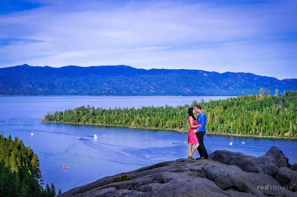 Couple Kiss on Top of a Rock at Emerald Bay, South Lake Tahoe