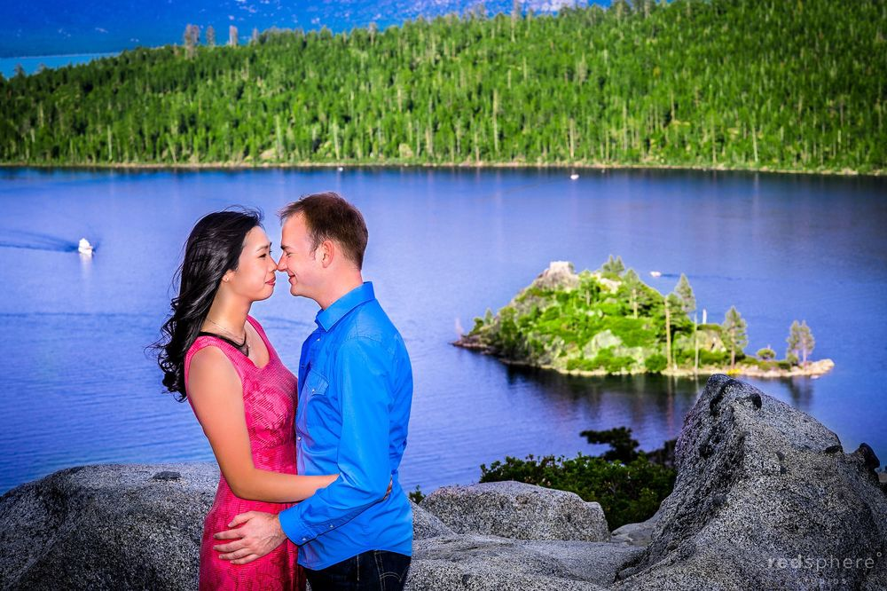 Couple Nuzzles Noses at Emerald Bay Engagement