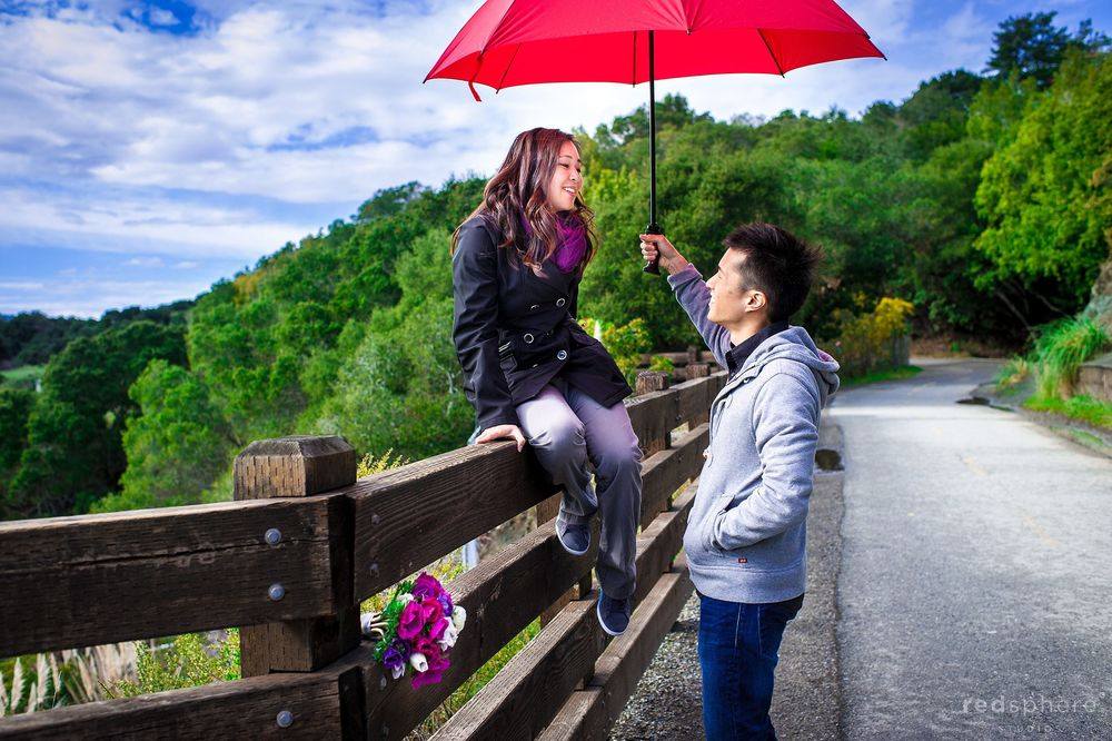 Cute Engagement Pictures, Red Umbrella, San Mateo