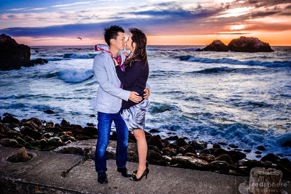 Couple Kiss at Sutro Bath, Summer Solstice, Engagement Session