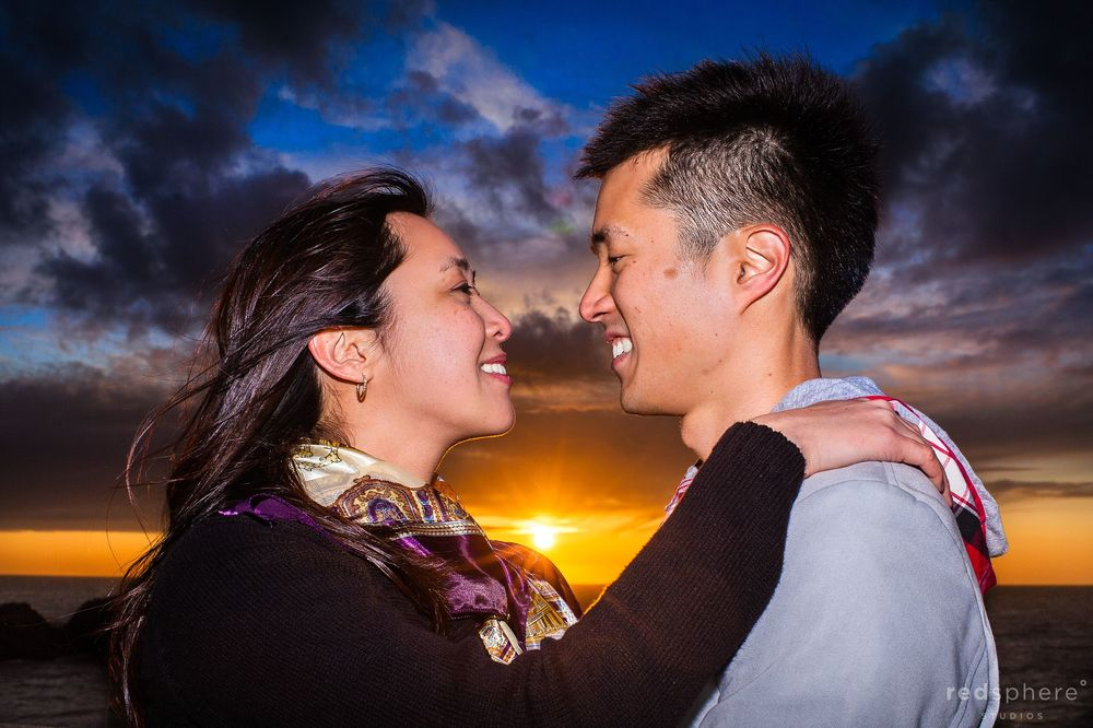 Couple Intimacy at Sutro Baths, Amazing Sunset, SF Engagement