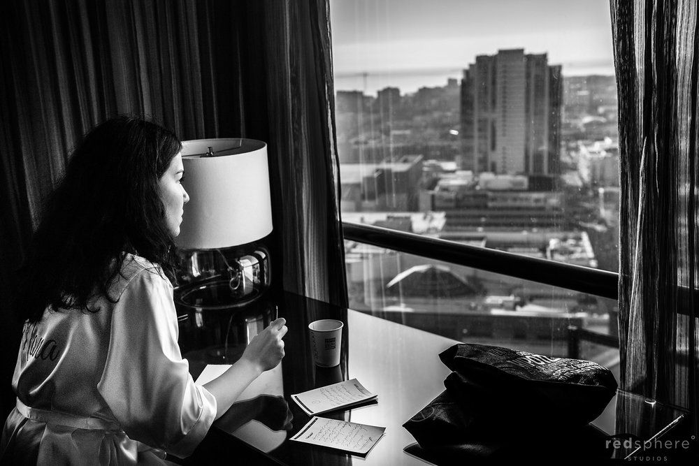 Bride getting ready at Hotel Parc 55 Hilton Union Square, San Francisco