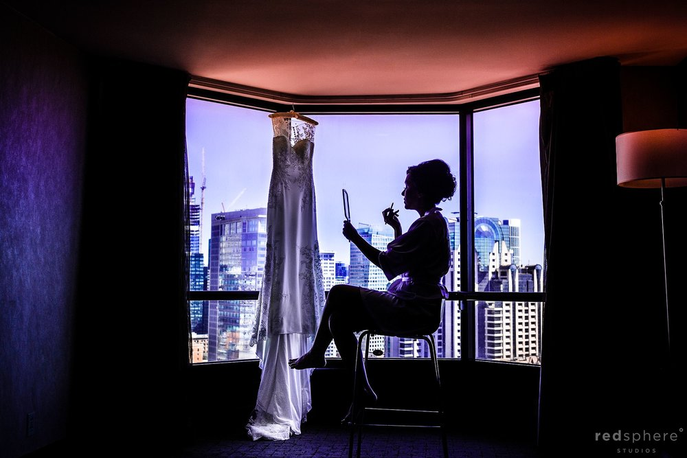 Bride getting ready at Hotel Parc 55 Hilton, San Francisco