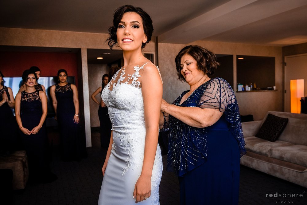 Bride and her mother getting ready at Hotel Parc 55 Hilton, San Francisco