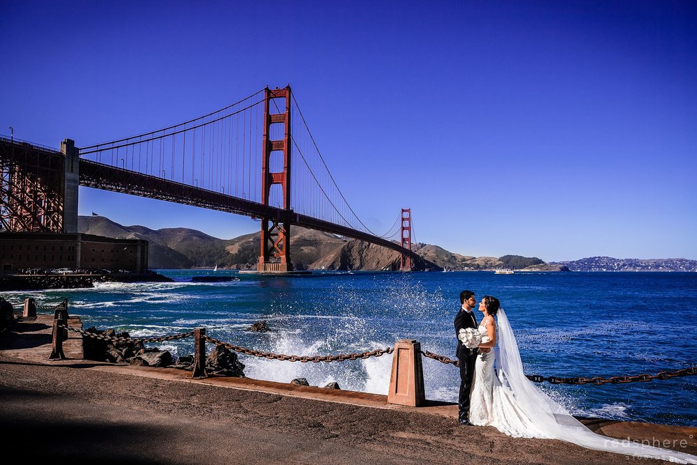 Wedding portrait Golden Gate Bridge top San Francisco wedding photographer