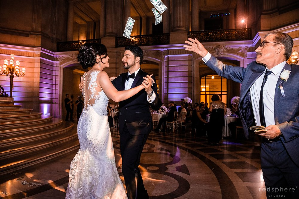 San Francisco City Hall wedding reception first dance