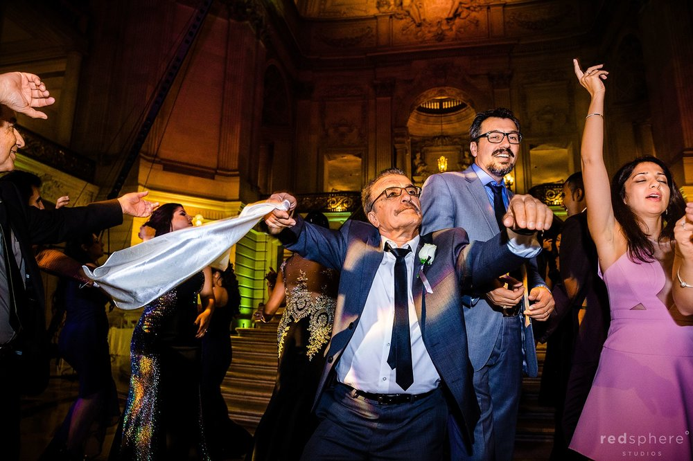 Wedding guests dancing at San Francisco City Hall