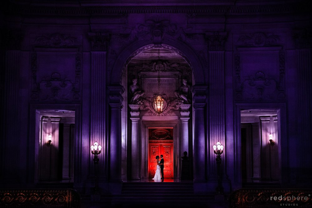 bride and groom night wedding portrait at City Hall San Francisco