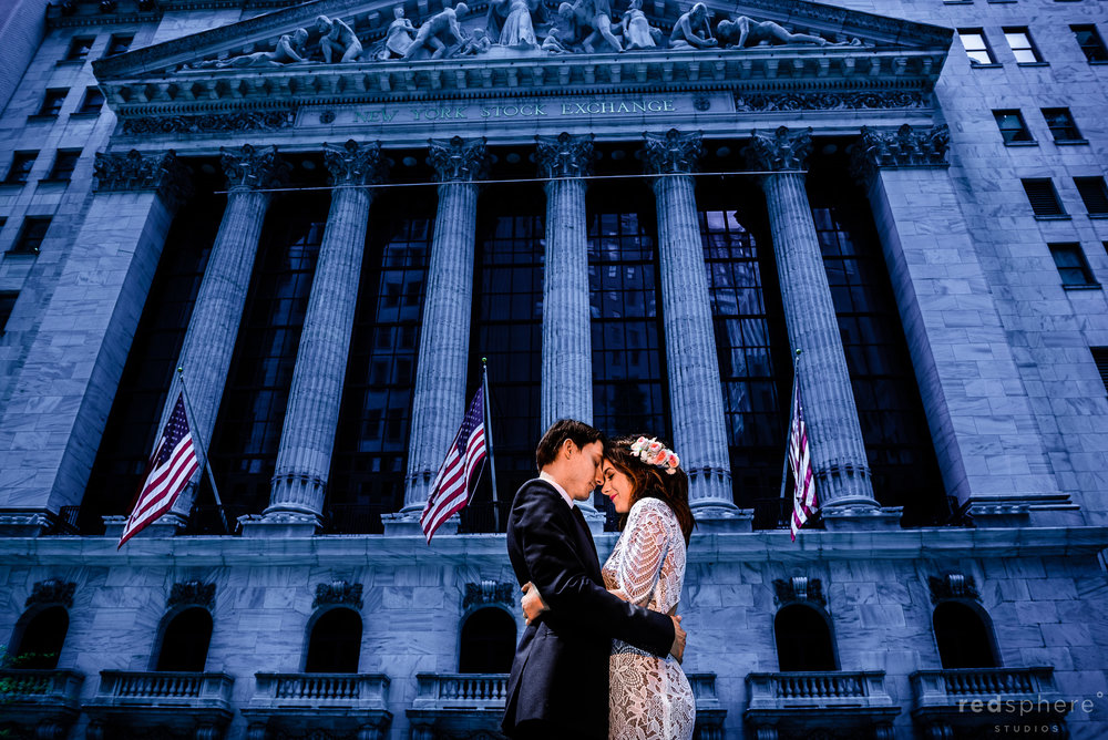 New York City Wedding Photos on Wall Street (NYSE)