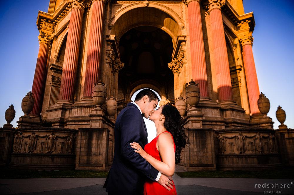Special Kiss Shared Between Jorge and Daniella at San Francisco Palace of Fine Arts Engagement