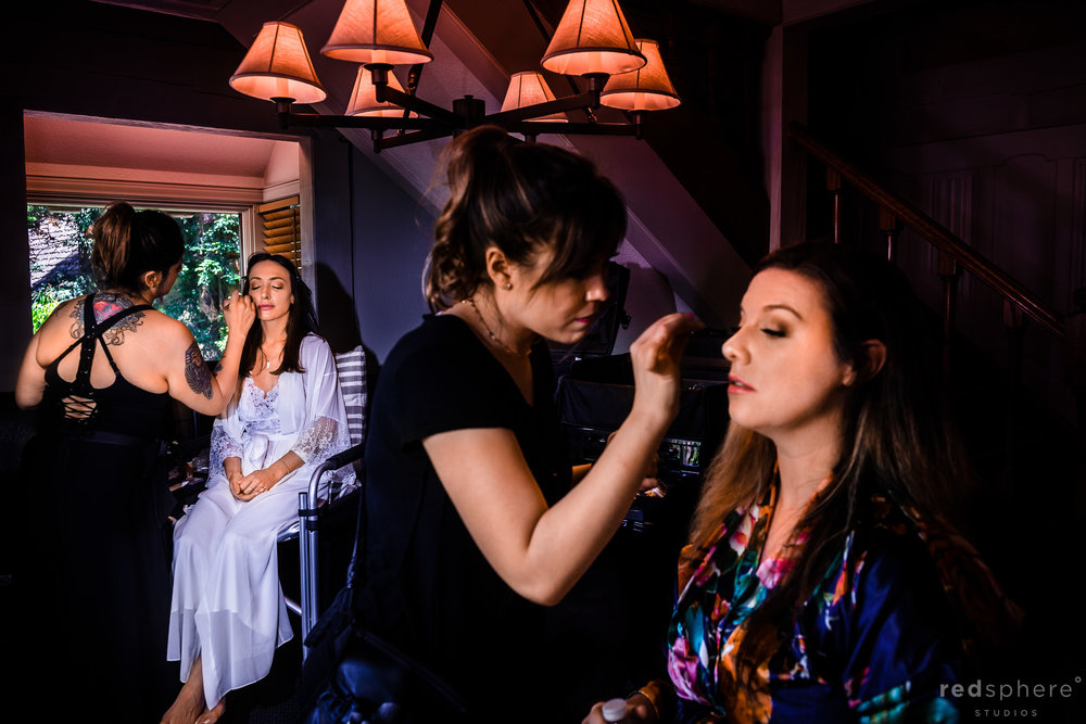 Bride and Bridesmaid getting ready at Harvest Inn By Charlie Palmer, St. Helena, Napa Valley