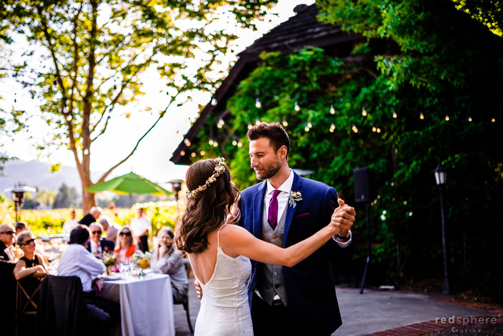Bride and groom's first wedding dance at Harvest Inn By Charlie Palmer, St. Helena, Napa Valley