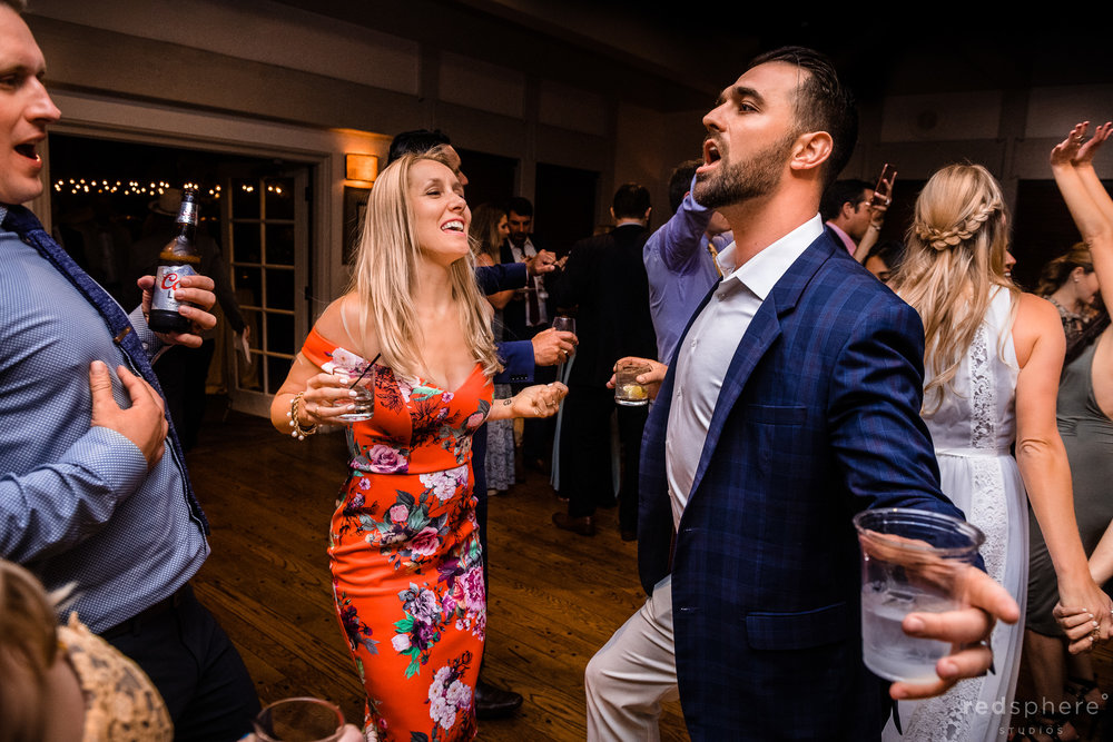 Wedding Guests on the Dance Floor having fun at Harvest Inn By Charlie Palmer, St. Helena, Napa Valley