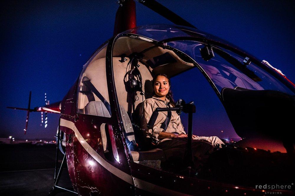 Female helicopter pilot Bethany Hernandez