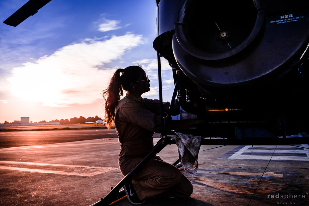 Female helicopter pilot silhouette