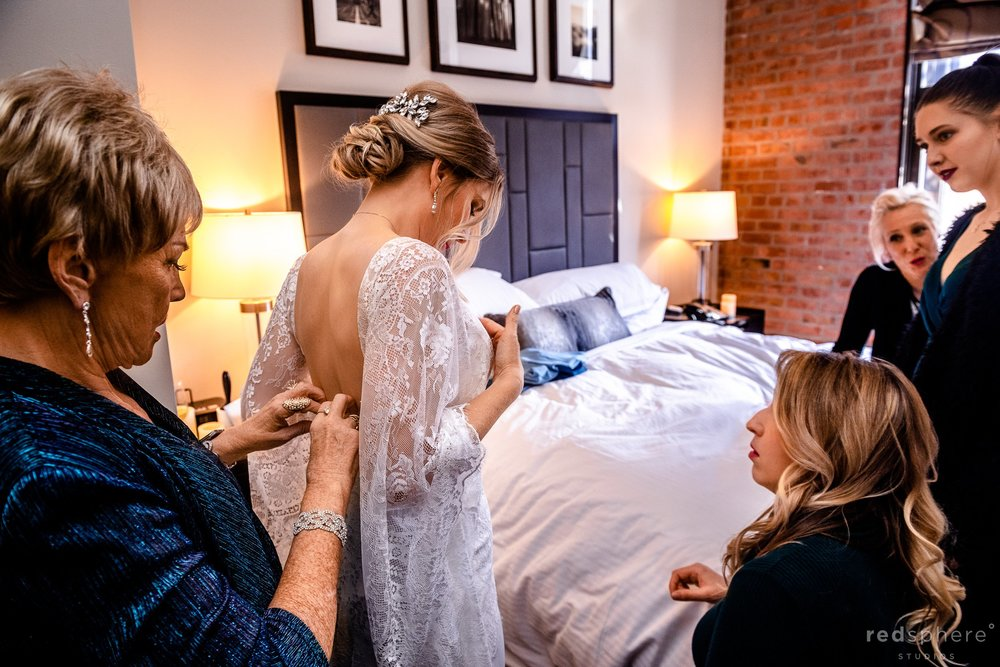 Bride Getting Ready at Fairmont Heritage Place, San Francisco