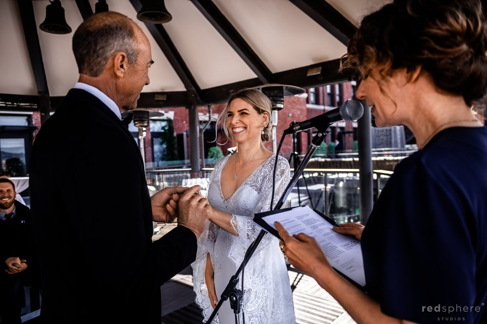 Wedding ceremony at Fairmont Heritage Place Ghirardelli Square San Francisco
