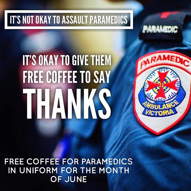 We are very proud of the work our paramedics do to keep us all safe. To bring awareness and a little love to the people that work tirelessly and are so often assaulted and treated badly, from now and for the entire month of June, we will be giving free coffee to any Paramedics in Uniform. Help us spread the word so that we might help brighten their day! // To the Paramedics in our community and all over the country, thank you for being amazing! Come get free coffee every day in June if you want. Come twice a day!! The more times you come visit us, the happier it will make us to know we've contributed a little to your day. All our love, Brother Alec . . . . . . . . . . . 📷 @ambulancevic #autumn #cafe #melbournecafe #thornbury #thornburycafe #family #smallbusiness #supportsmall #coffee #melbourne #melbournecafes #highstthhornbury #melbournecoffee #brotheralec #broadsheetmelbourne #visitmelbourne #melbournetodo #supportlocal #paramedic #ambulancevictoria #supportparamedics