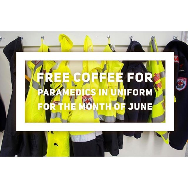FREE COFFEE FOR PARAMEDICS IN UNIFORM // Remember for the whole month of June, we're giving free coffee to our hardworking paramedics. We weren't feeling like there was much we could do to change how difficult it can be to be a paramedic or emergency worker. Assaults on emergency workers happen every day when they are trying to help people. We wanted to throw our support behind them and stand up and say it's not okay with us! We want to brighten up their day and hopefully give them a moment where they get a little something back for themselves. The free coffees we've given away so far have truly brought us joy. It's been our honour to say thanks. Get behind it Northside peeps and let your friends know. As always, lots of love from Jess, Malia and the rest of the crew at Brother Alec