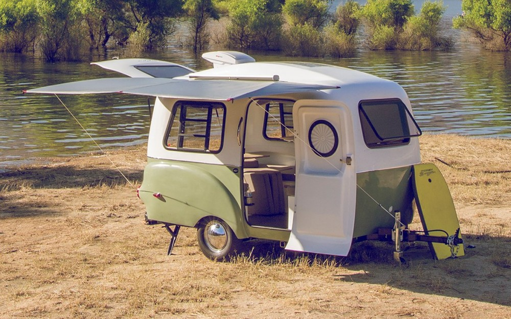 Imagine this little beauty, but with the body base in blue - or check here to get the full experience -http://happiercamper.com