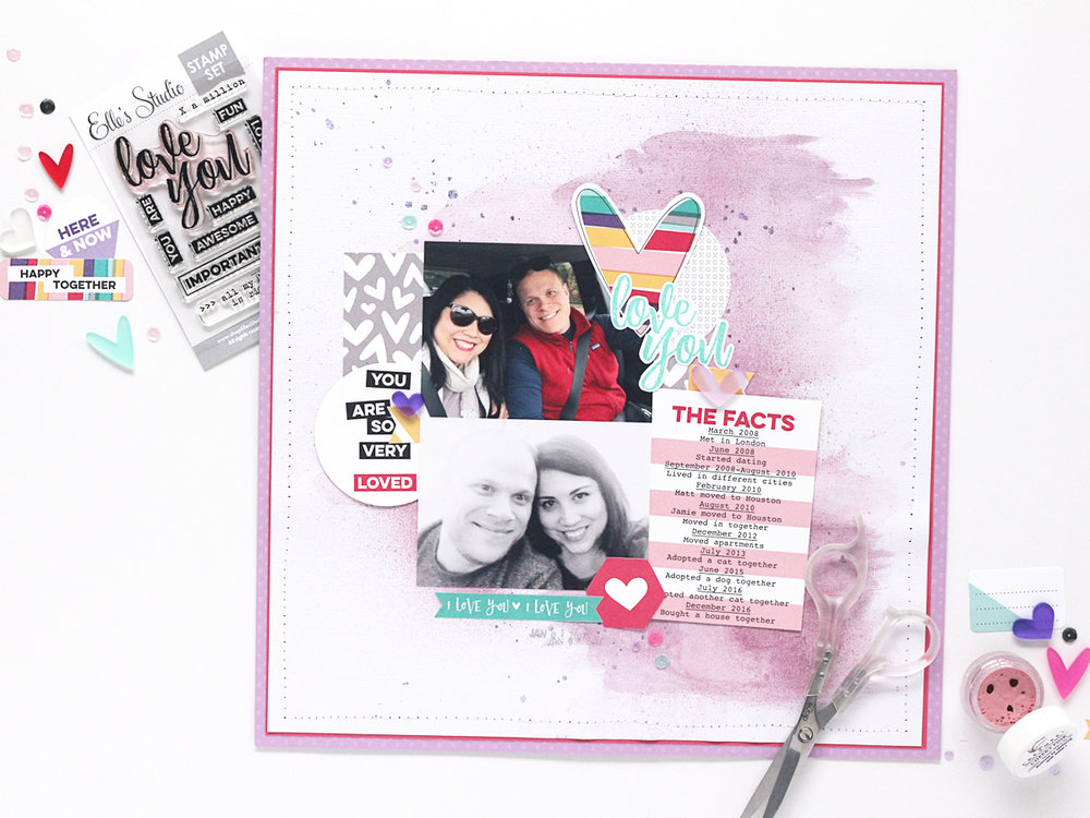 Elle's Studio Products Used: January 2017 Monthly Kit, Valentine Banner Stickers, Sequins-Love Mix, Acrylic-Frosted Hearts, All my Heart Stamp