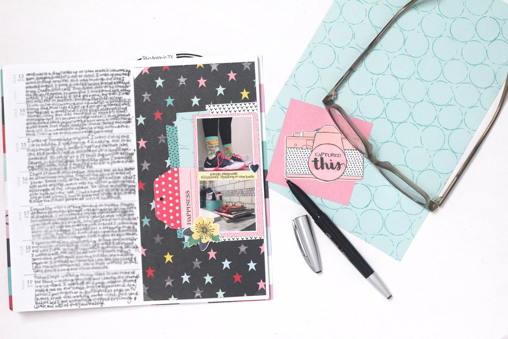 Products Used: Shimelle Little by Little--Patterned Paper Shine Bright, Higgedly Piggedly, Foxy; Puffy Stickers, Ephemera with Embossed Accents,